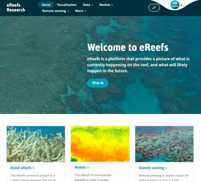 Front page of CSIRO eReefs Research Website